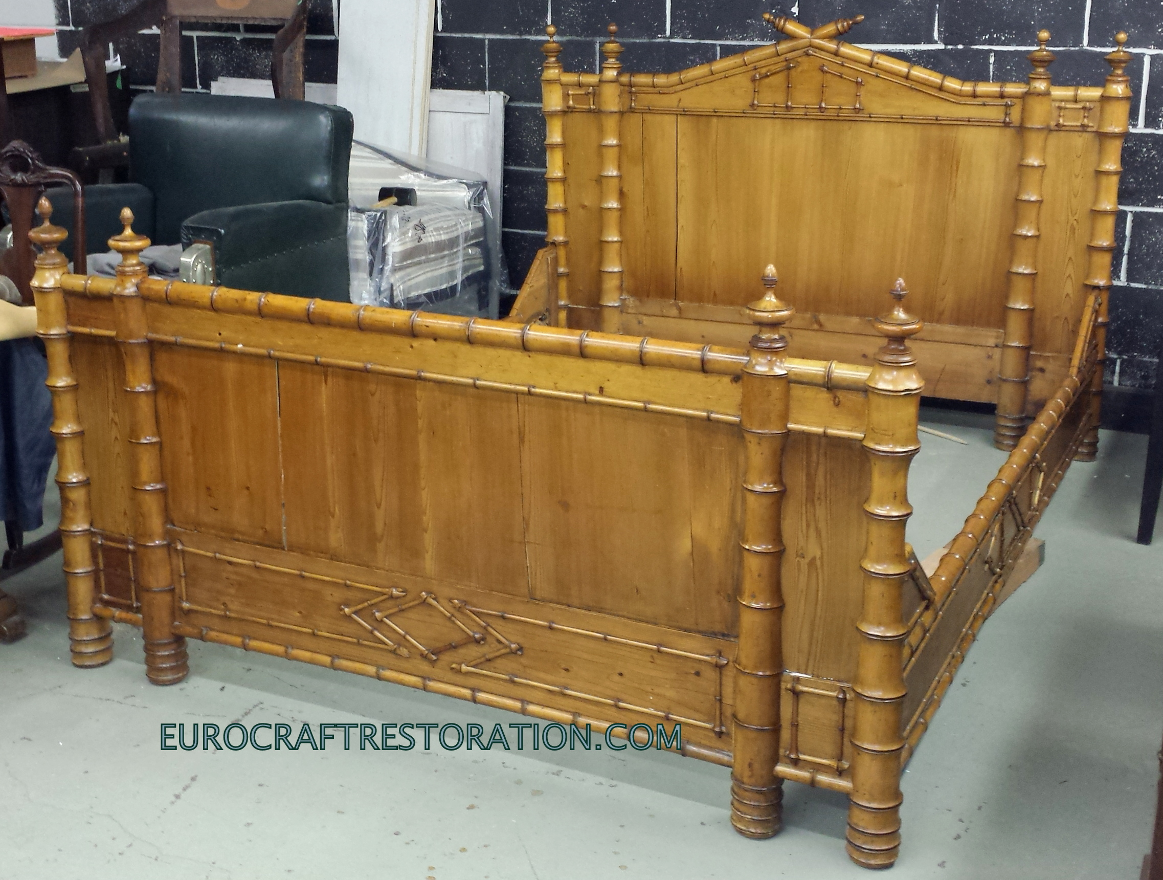 French Faux-Bamboo Bed, Enlarged to King Size