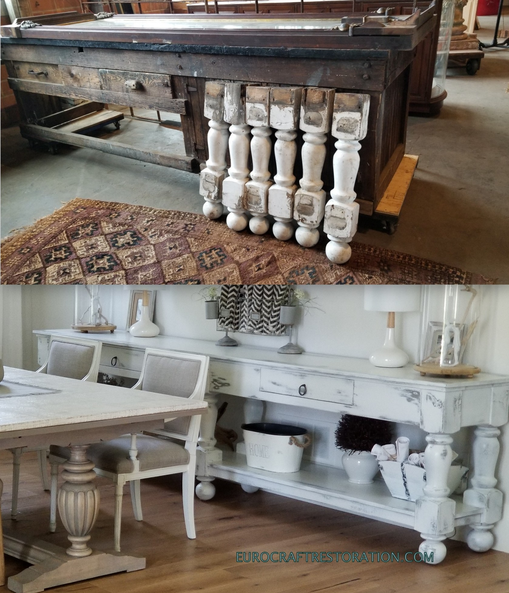RECLINED STAIRCASE POSTS FROM BD SALVAGE USED TO BUILD NEW 11 FEET SIDEBOARD