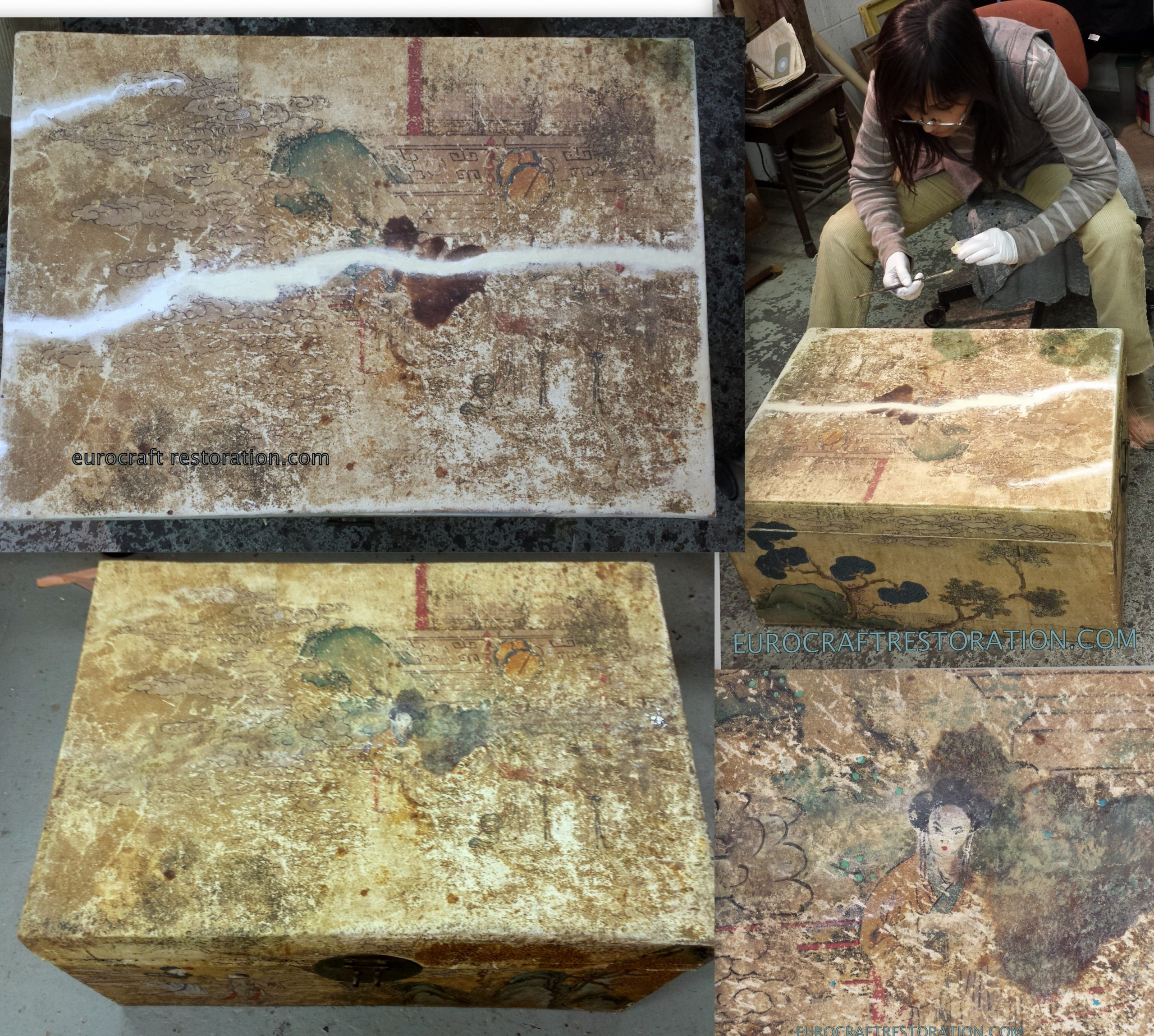FIXING AND TOUCH UP ORIENTAL CHEST WITH TOP CRACKED