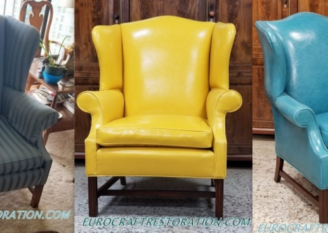 English 18th Century Chippendale Period Mahogany Wing Chairs Done in Vinyl