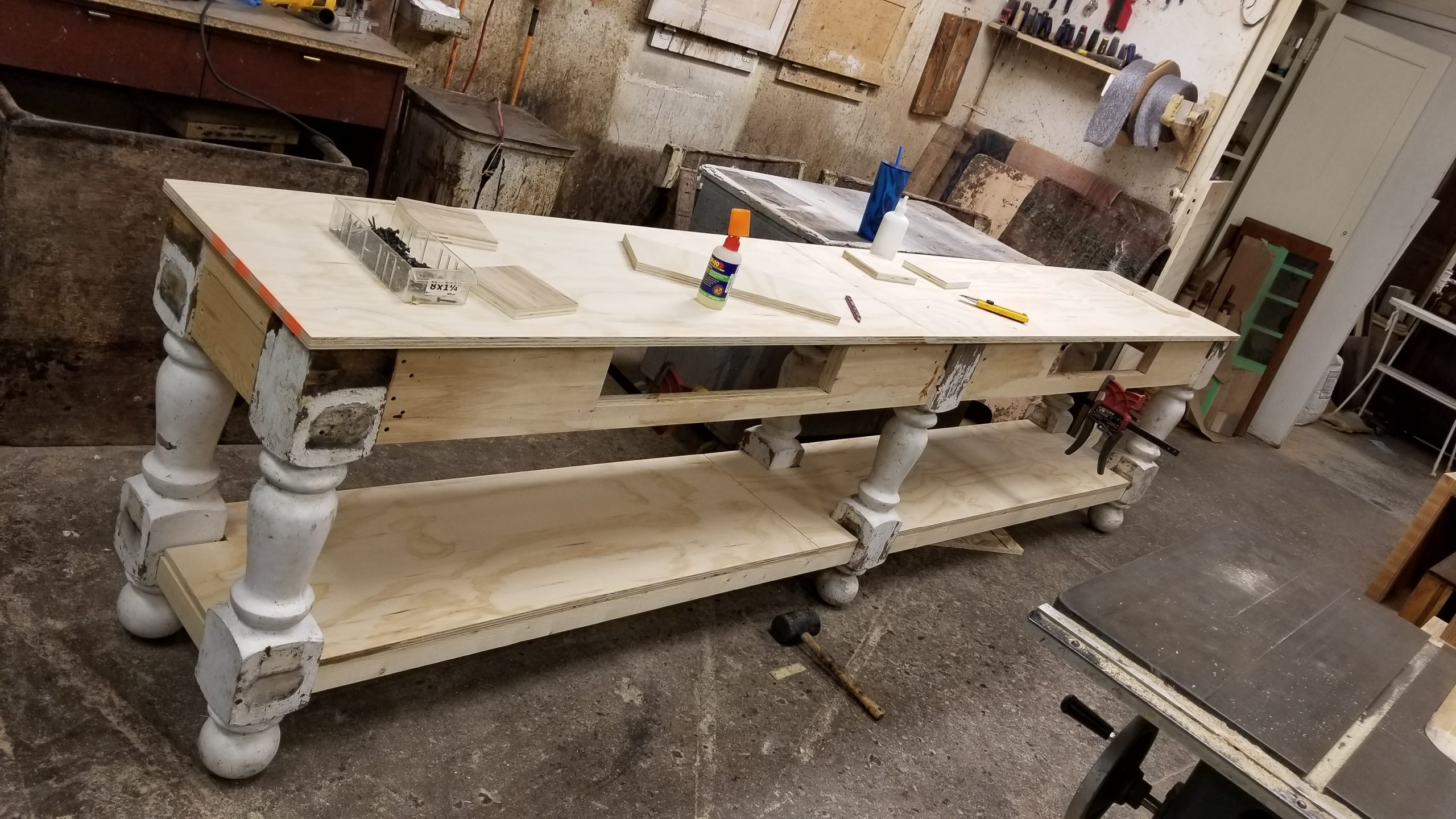 11 FEET SIDEBOARD MADE FROM RECLINED STAIRCASE POST