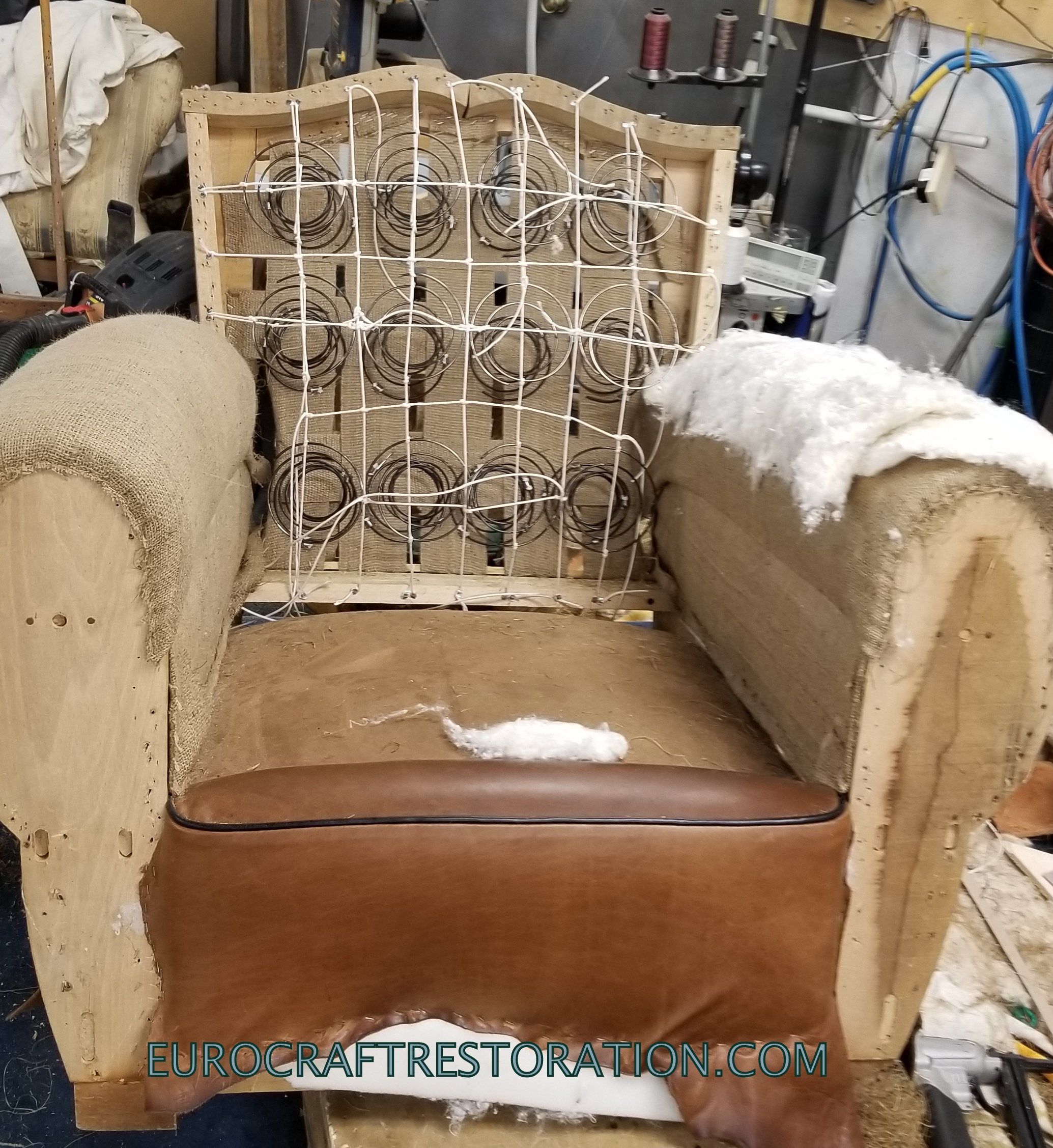 French Moustache Back Brown Leather Club Chair