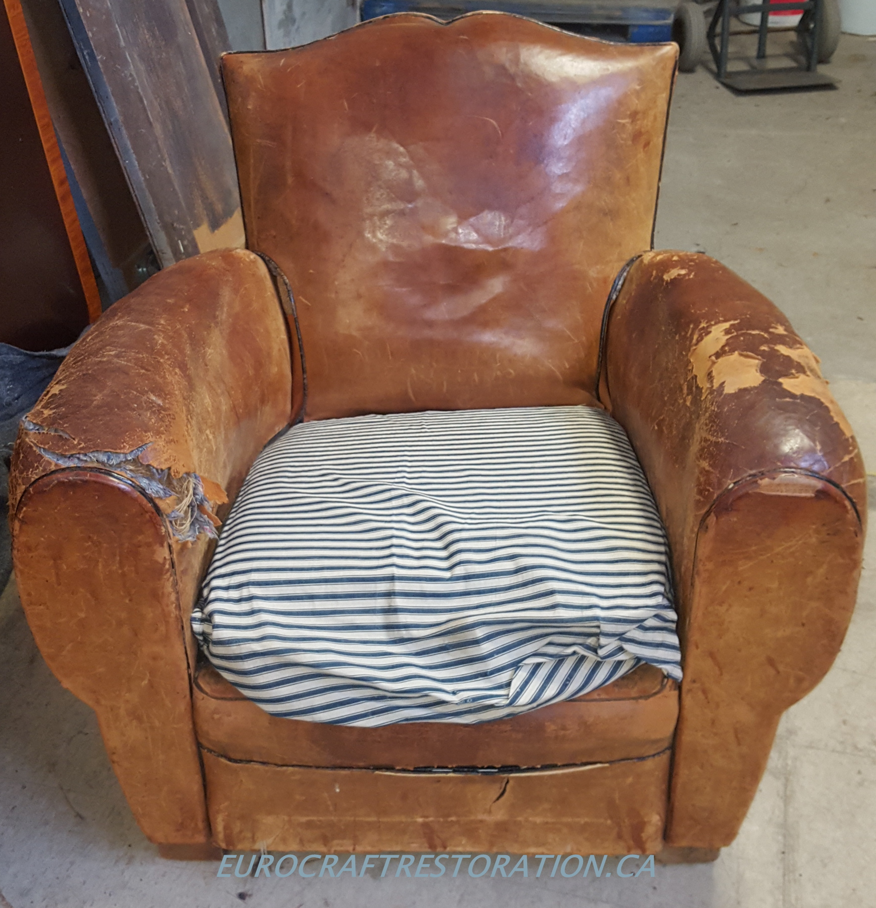 French Art Deco  Leather Club Chair