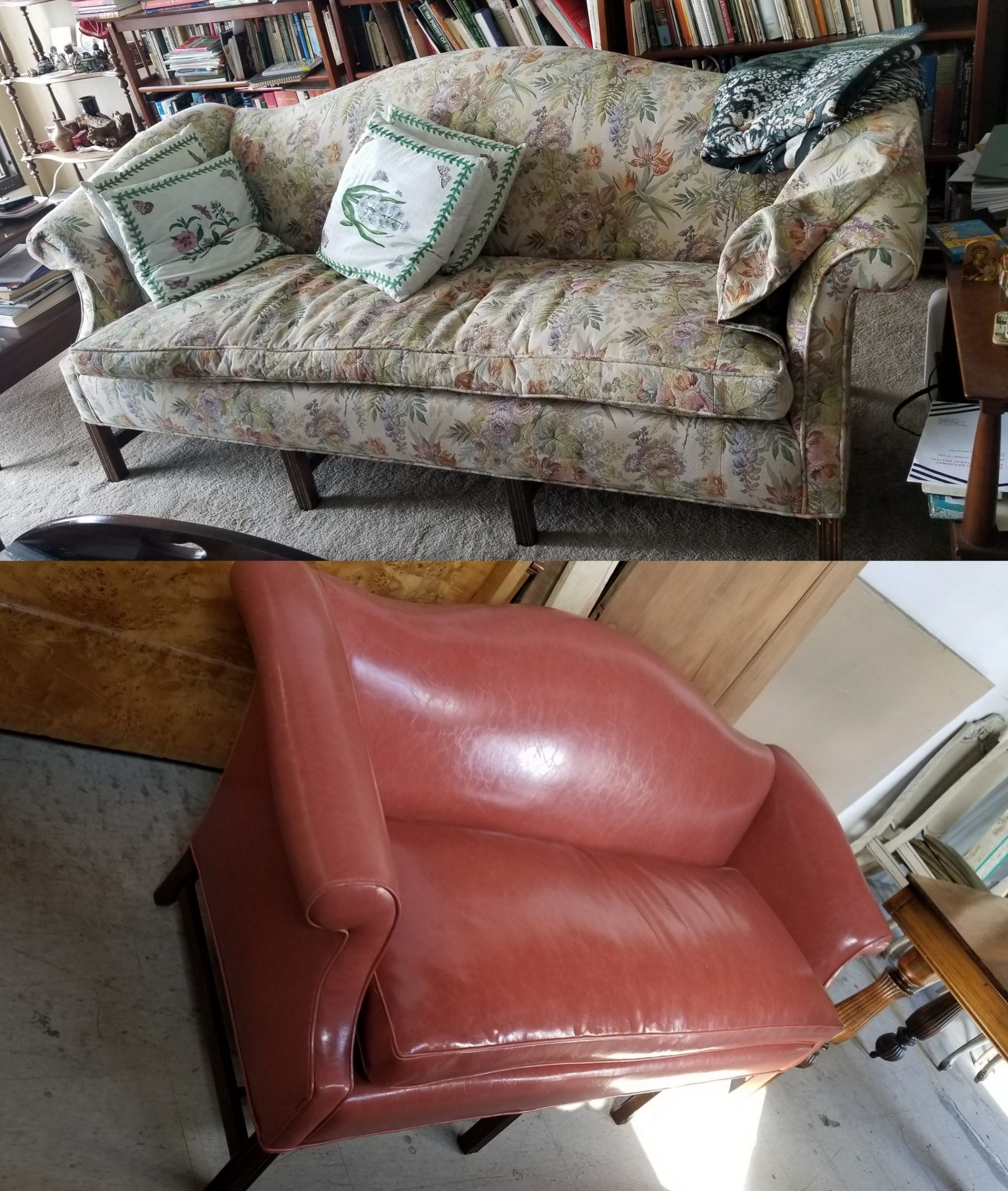 Chippendale Style Mahogany Camelback Sofa Loveseat Done in Vinyl