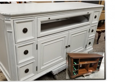 1 SOLID CHERRY SIDEBOARD / ENTERTAINMENT UNIT - SPRAY PAINT WITH DISTRESSING