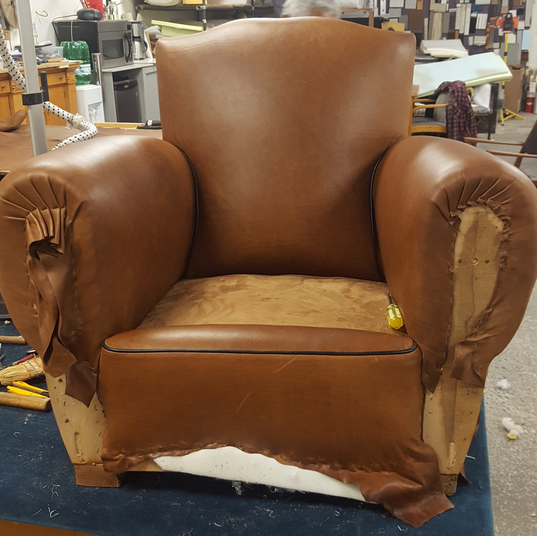 French Art Deco  Leather Club Chair Updated Progress Shot